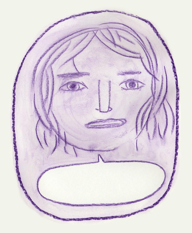 dessin visage violet