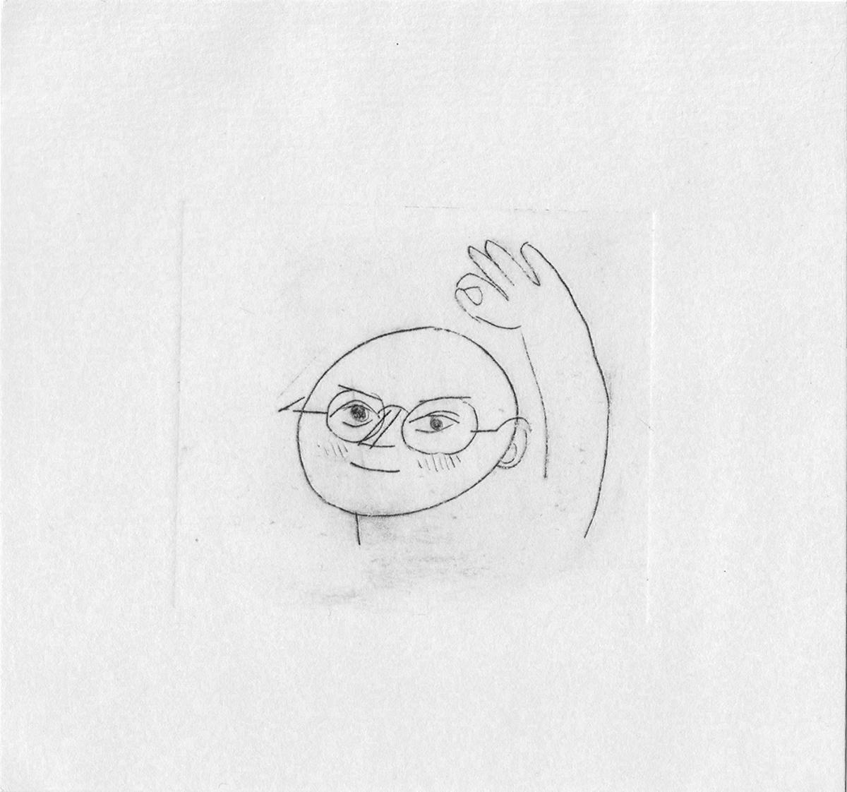 gravure de personnage à lunettes