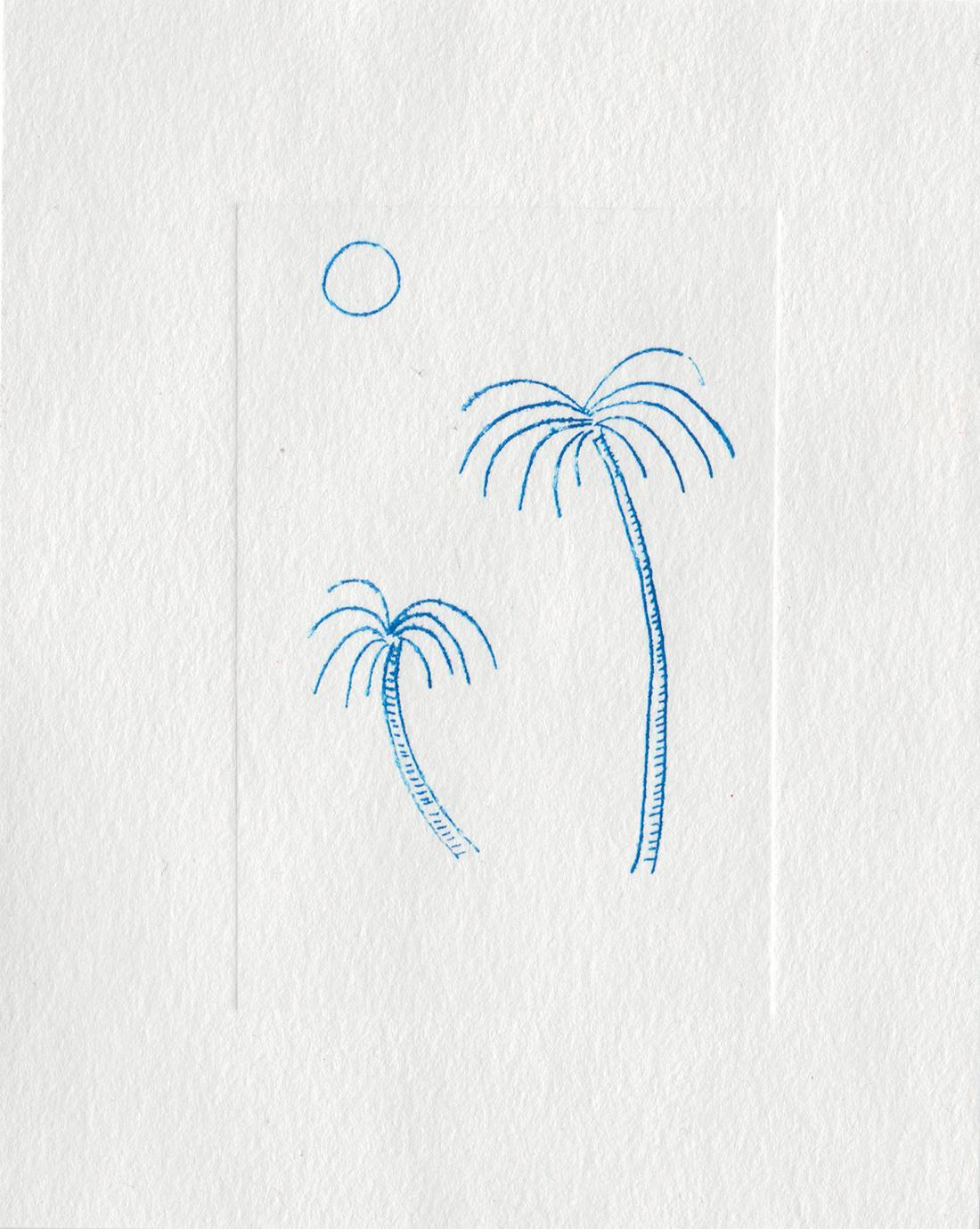 Gravure palmiers bleus
