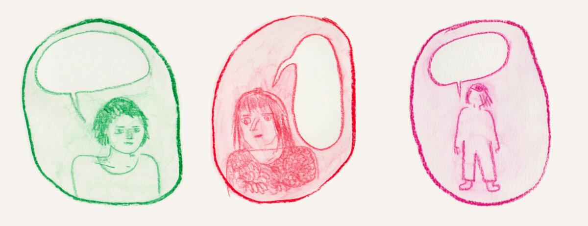 3 dessins de personnages mutiques
